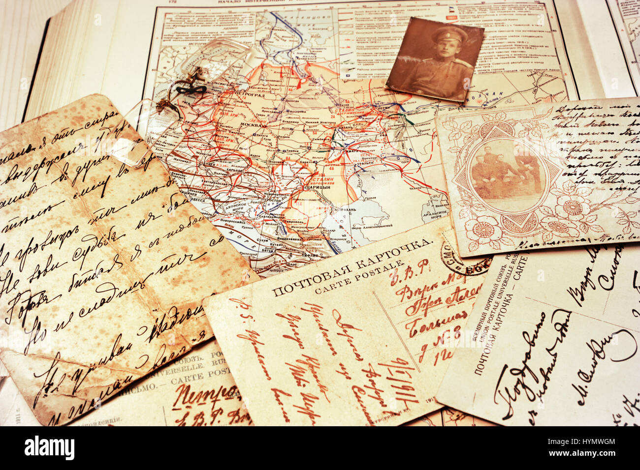 Postcards and a map of battles of