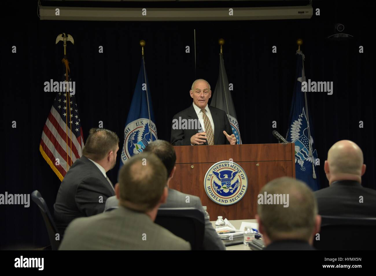 Secretary of Homeland Security John Kelly addresses an audience of US Immigration and Customs Enforcement at the Stock Photo