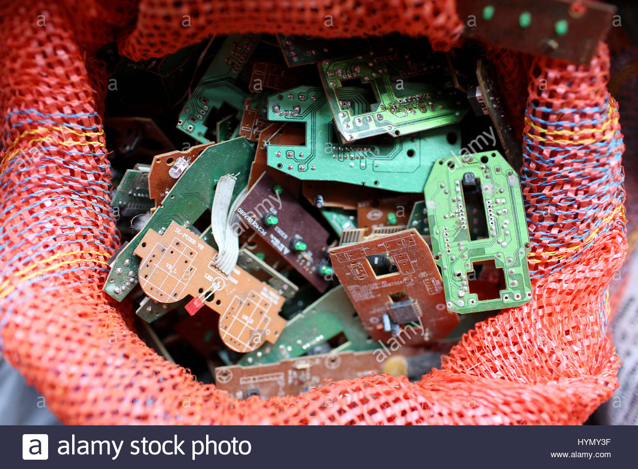 E Waste Stock Photos Images Alamy Recycled Circuit Board Small Notebook Boards In A Bag Village Near Kolkata Whose Residents Recycle