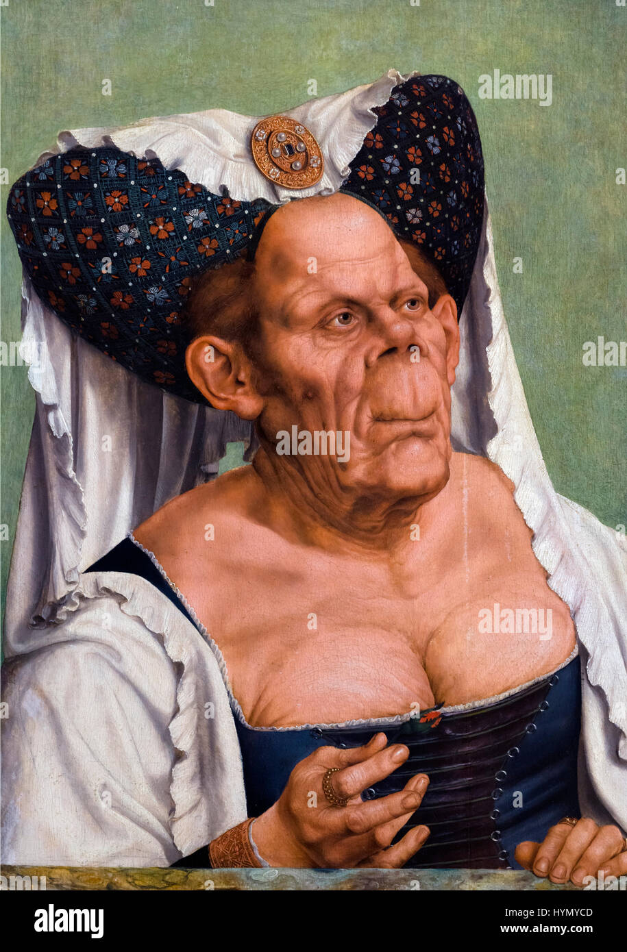 An Old Woman (The Ugly Duchess) by Quentin Matsys (c.1465/6-1530), oil on oak, c.1513. - Stock Image