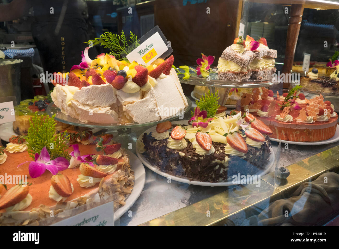 Delicious Cakes For Sale In The Window Display Of The Hopetoun Tea Rooms In The Block Arcade Melbourne Australia - Stock Image