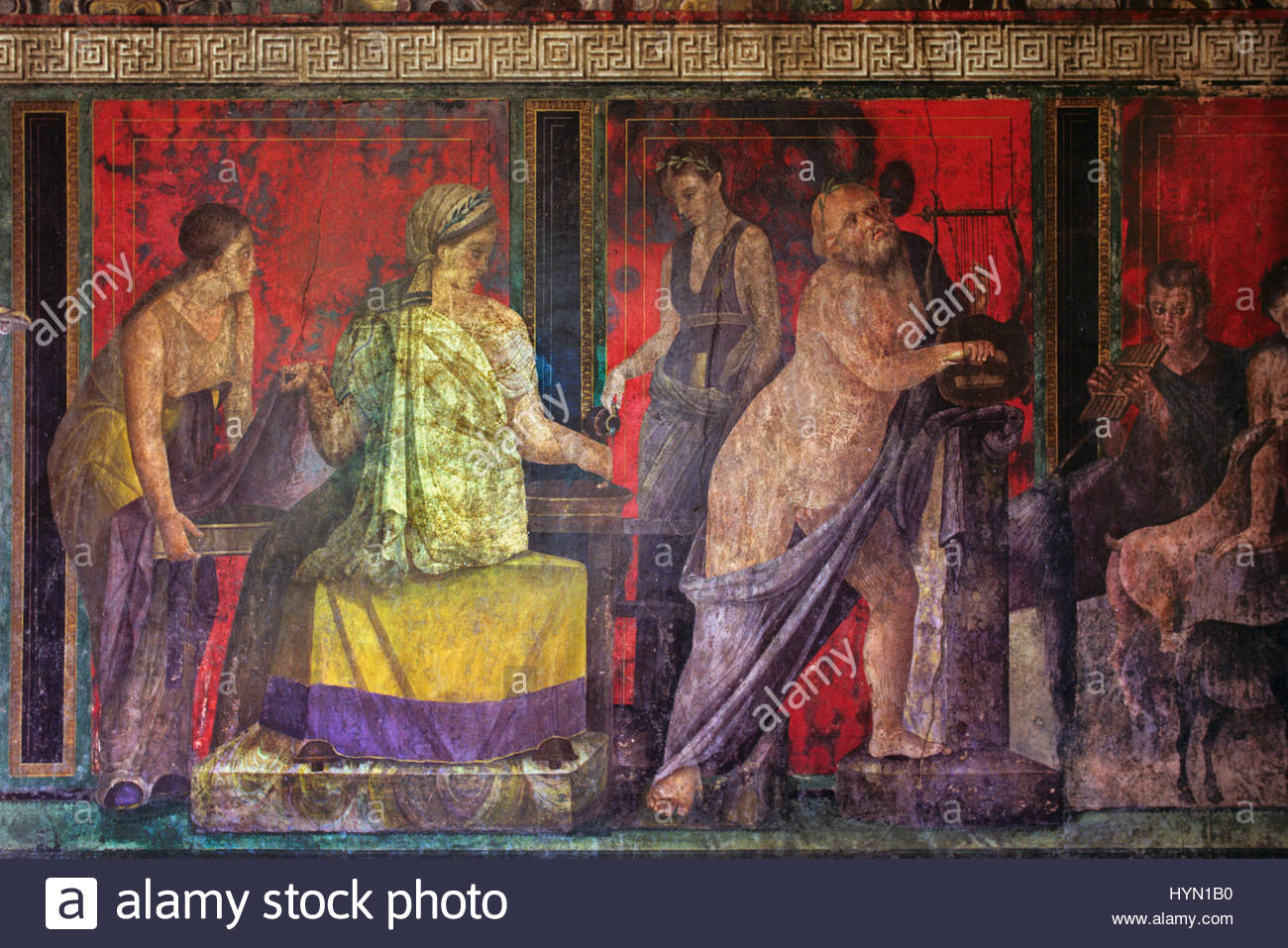 The Villa of Mysteries contains room with well preserved wall paintings thought to relate to the cult of Dionysus. - Stock Image