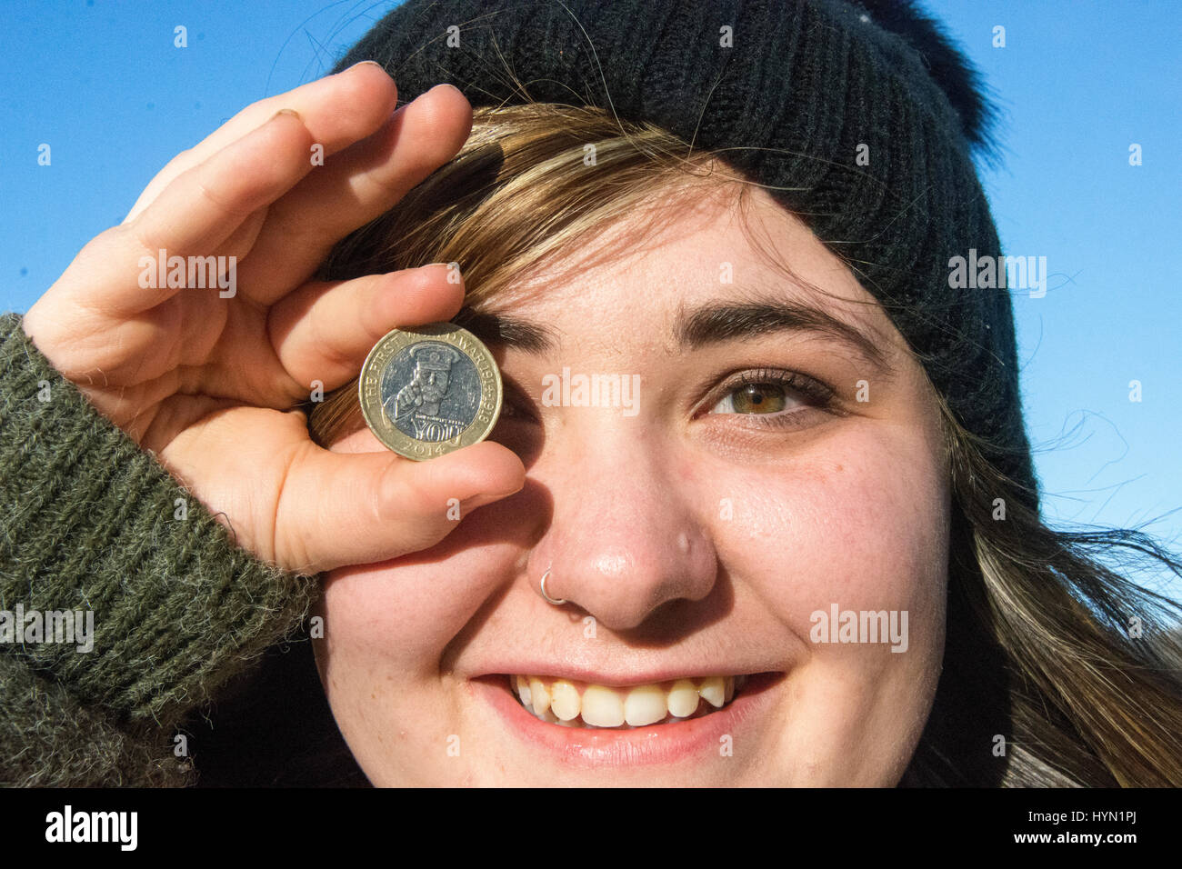 Wales, United Kingdom. February 23 2017. Kern Bridges aged 22 from Penarth is a Photojournalism student at the university - Stock Image