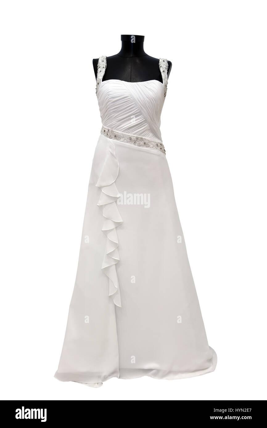 Modern white wedding dress isolated on white background Stock Photo