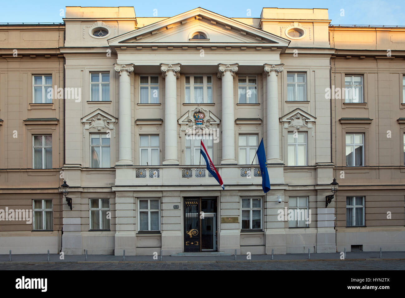 The Croatian Sabor or Parliament in Zagreb, Croatia. The current building dates from the beginning of the 20th century. - Stock Image