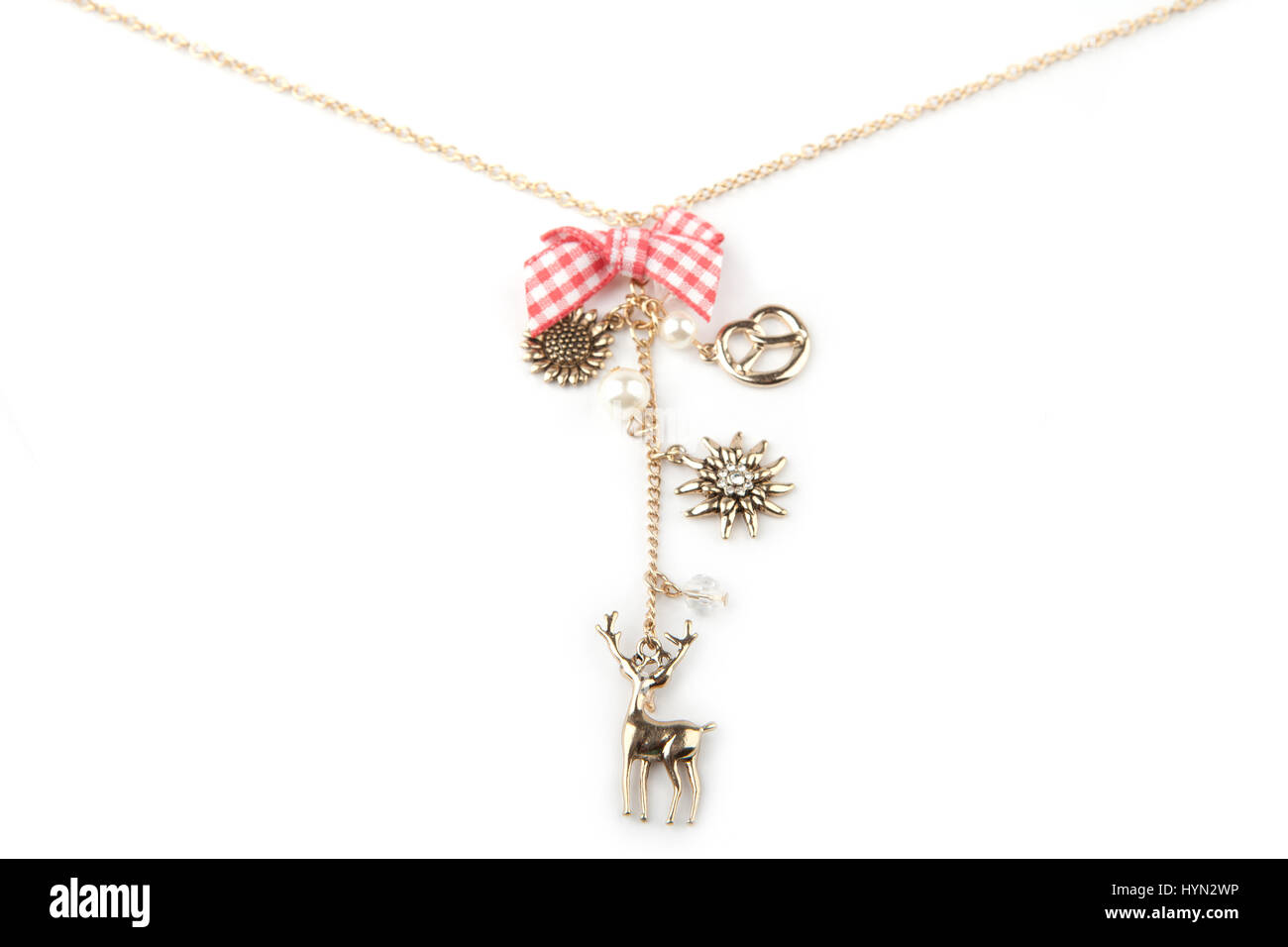 Lucky charm necklace, isolated on white Stock Photo