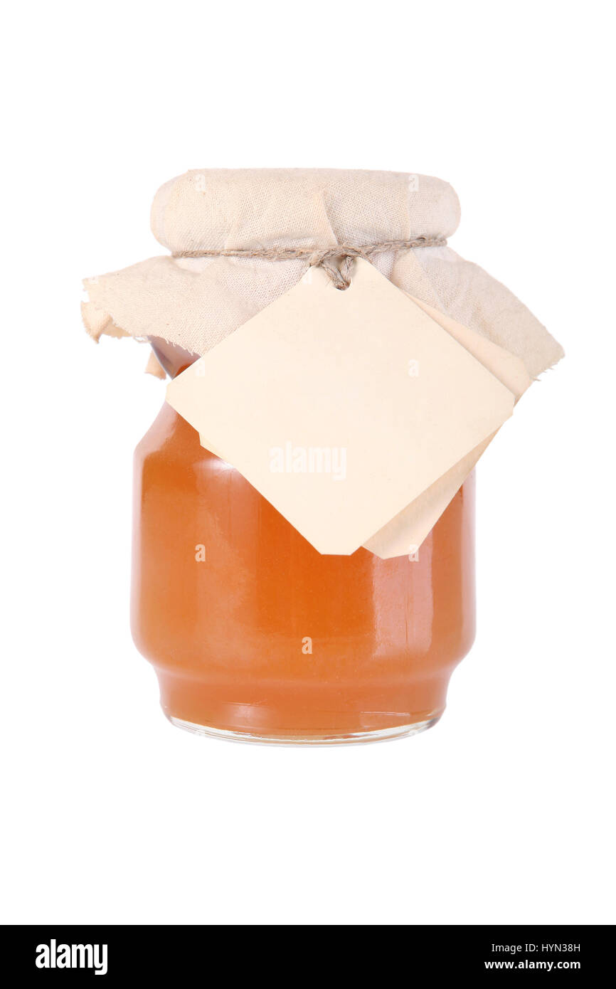 golden honey jar with empty white tag stock photo 137531873 alamy