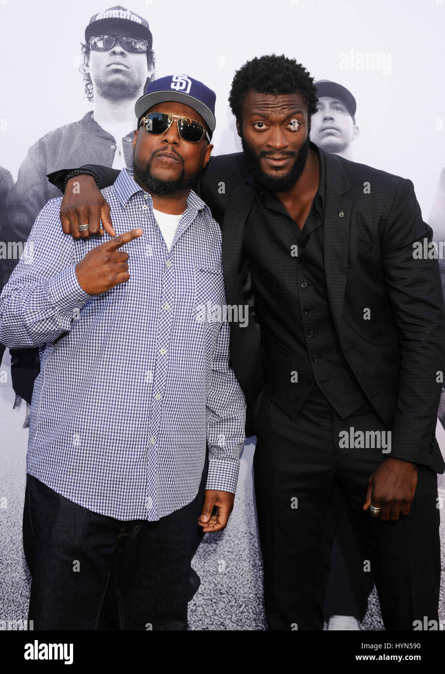 l r mc ren and aldis hodge attends the straight outta compton world