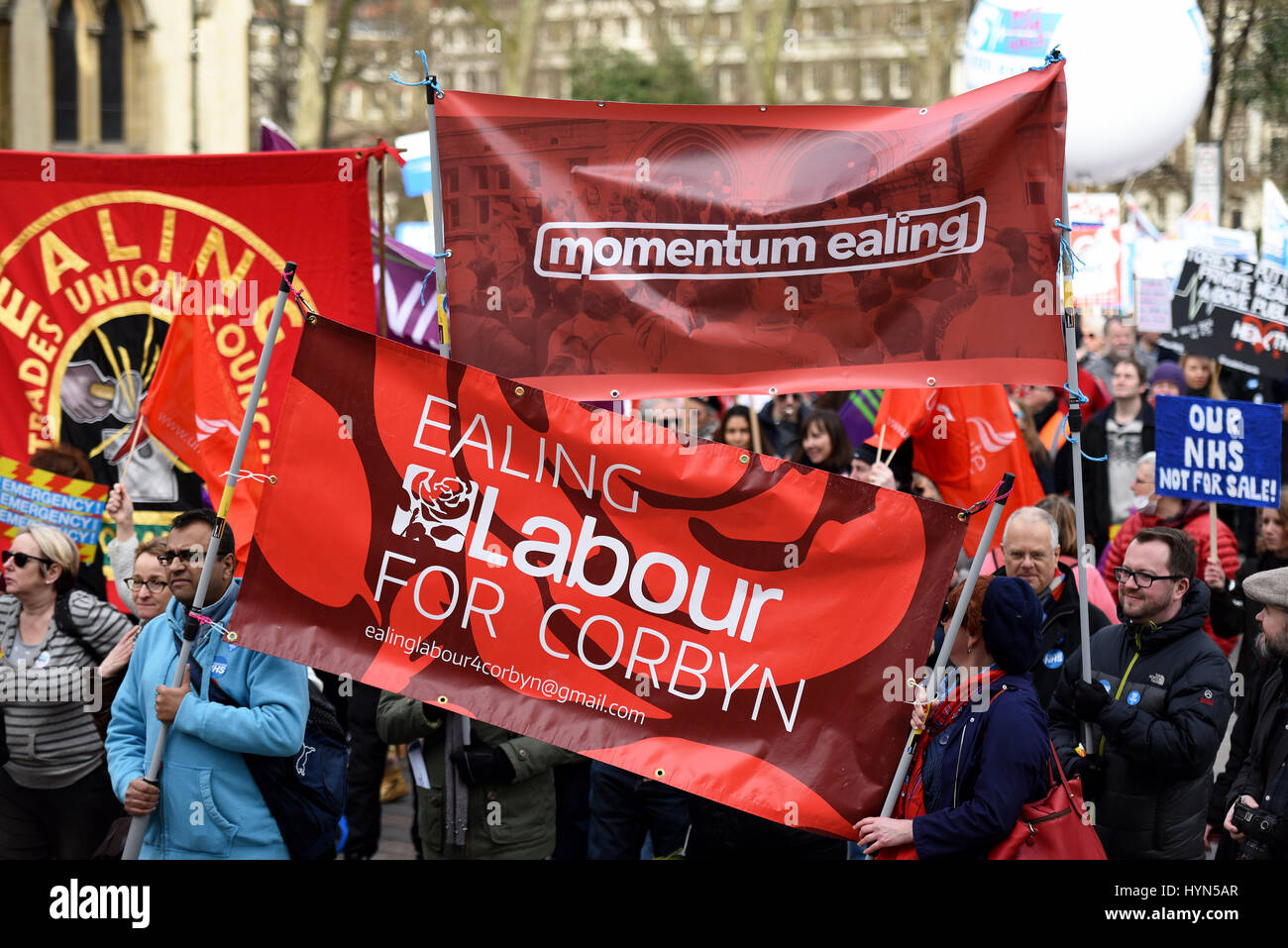 Ealing Labour party banner and Momentum Ealing banner during the 'Our NHS' support for the National Health - Stock Image
