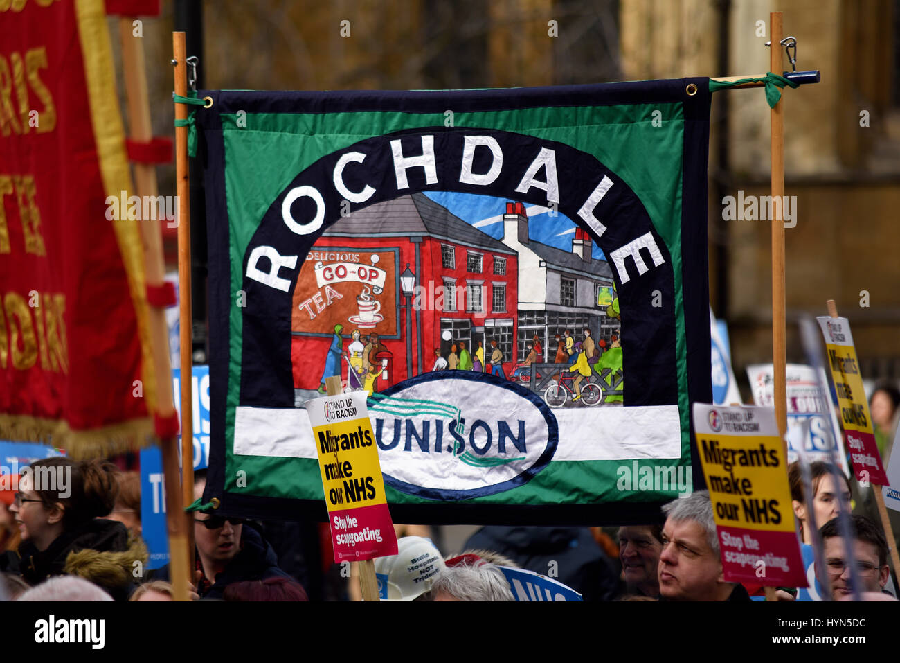 Rochdale branch of Unison banner during the 'Our NHS' support for the National Health Service demonstration - Stock Image