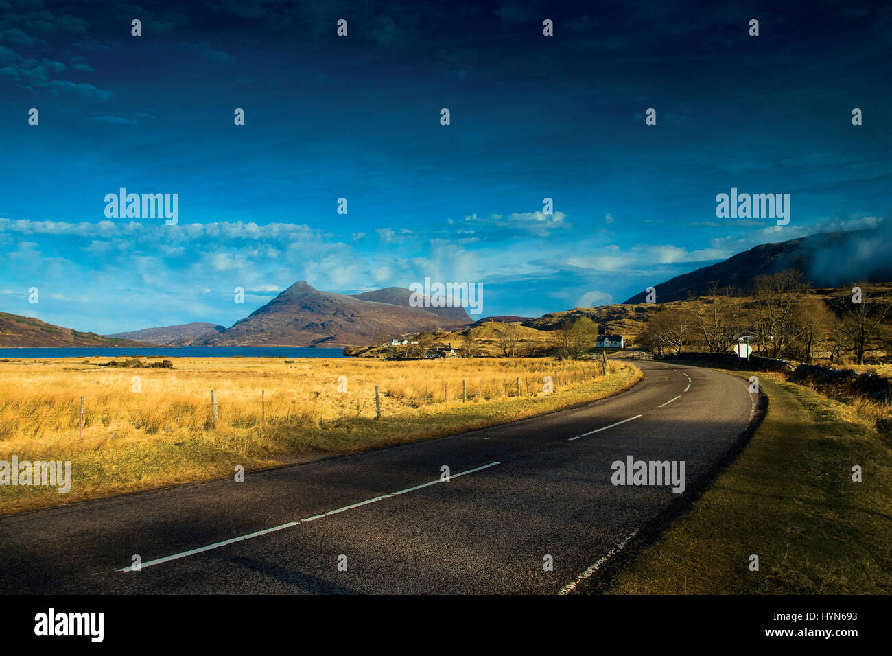 Quinag from the North Coast 500 near Inchnadamph, Sutherland, Northwest Highlands - Stock Image