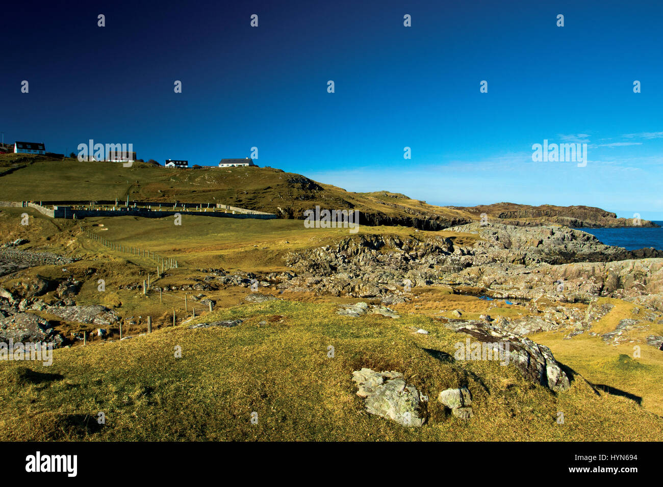 The village of Scourie from the North Coast 500, Sutherland, Northwest Highlands - Stock Image