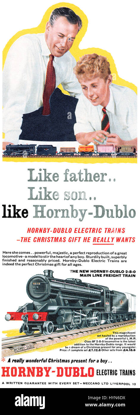 1958 British Christmas advertisement for Hornby-Dublo toy trains. Stock Photo