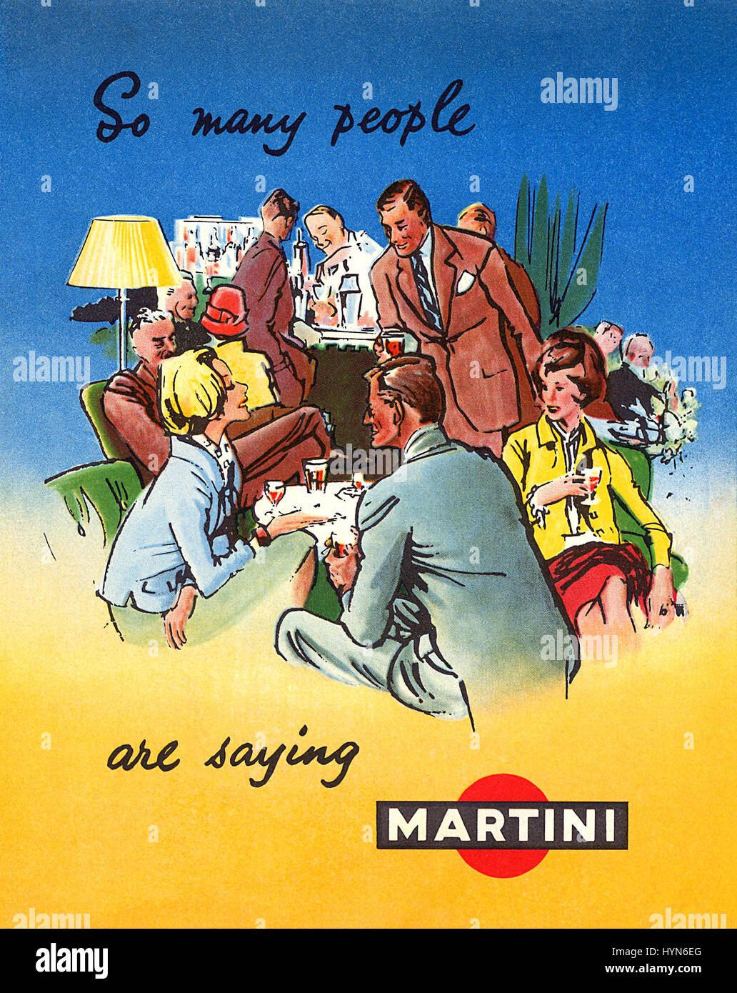 Front cover of a Martini leaflet, illustrated by Francis Marshall. - Stock Image