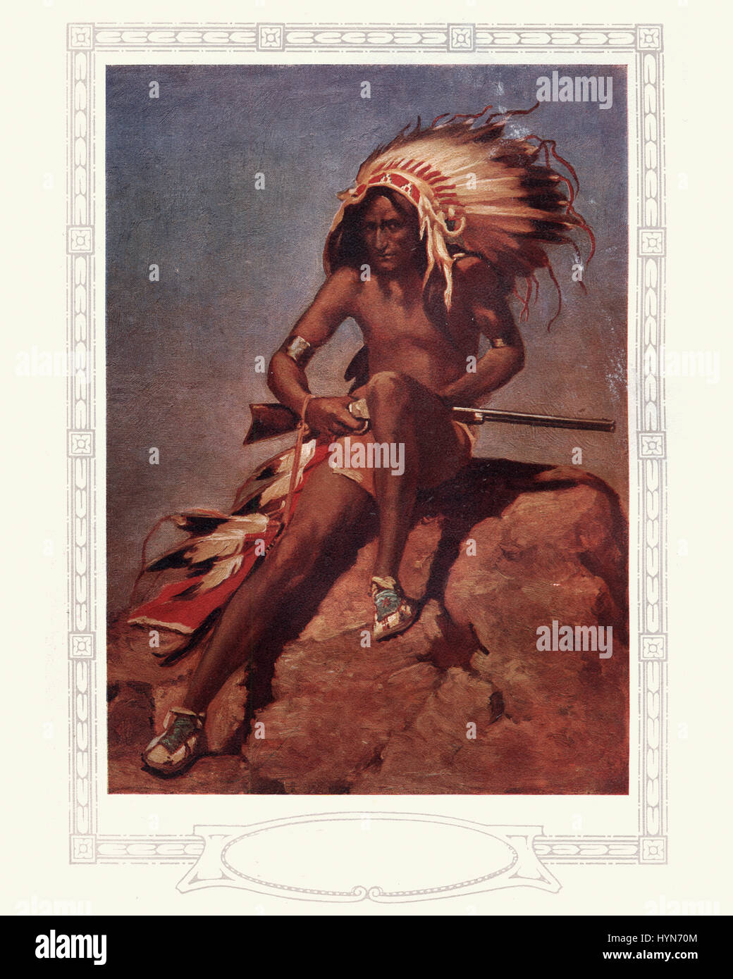 Vintage engraving of a Native American Warrior with Rifle, 1913 - Stock Image