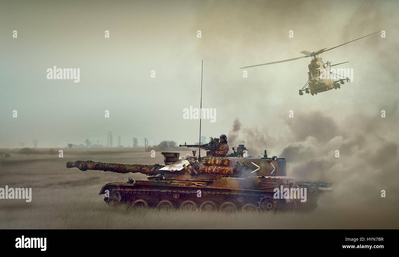Romanian tank TR85M1 and IAR 330 Puma helicopter - Stock Image