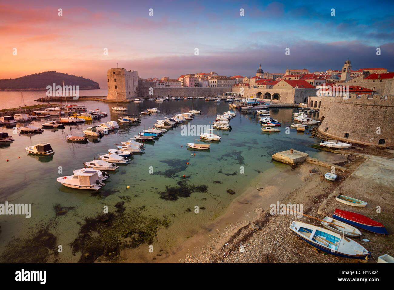 Dubrovnik, Croatia. Beautiful romantic old town of Dubrovnik during sunrise. - Stock Image