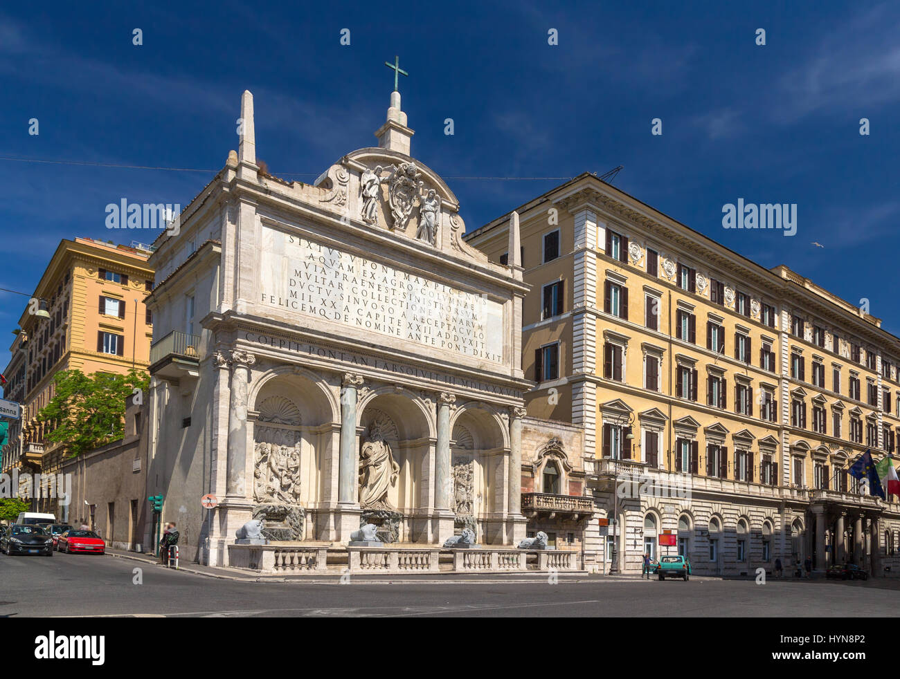 Fontana dell'Acqua Felice in Rome, Italy - Stock Image