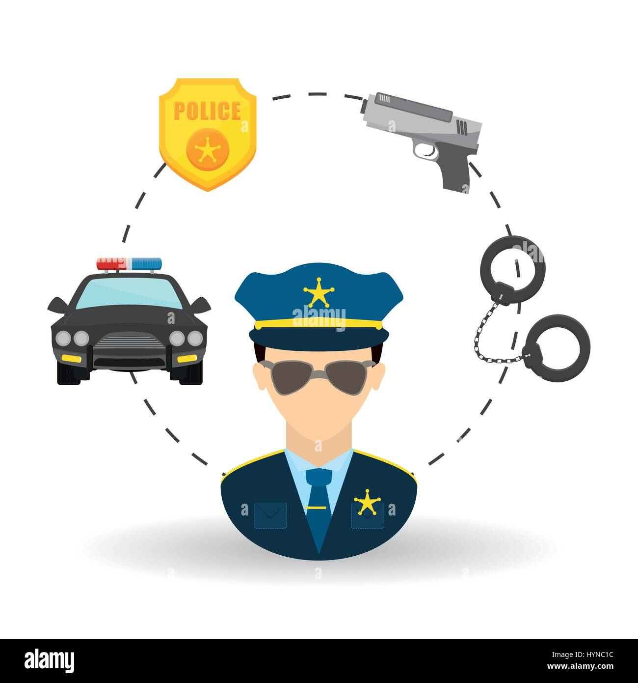Police concept with icon design, vector illustration 10 eps graphic. - Stock Image