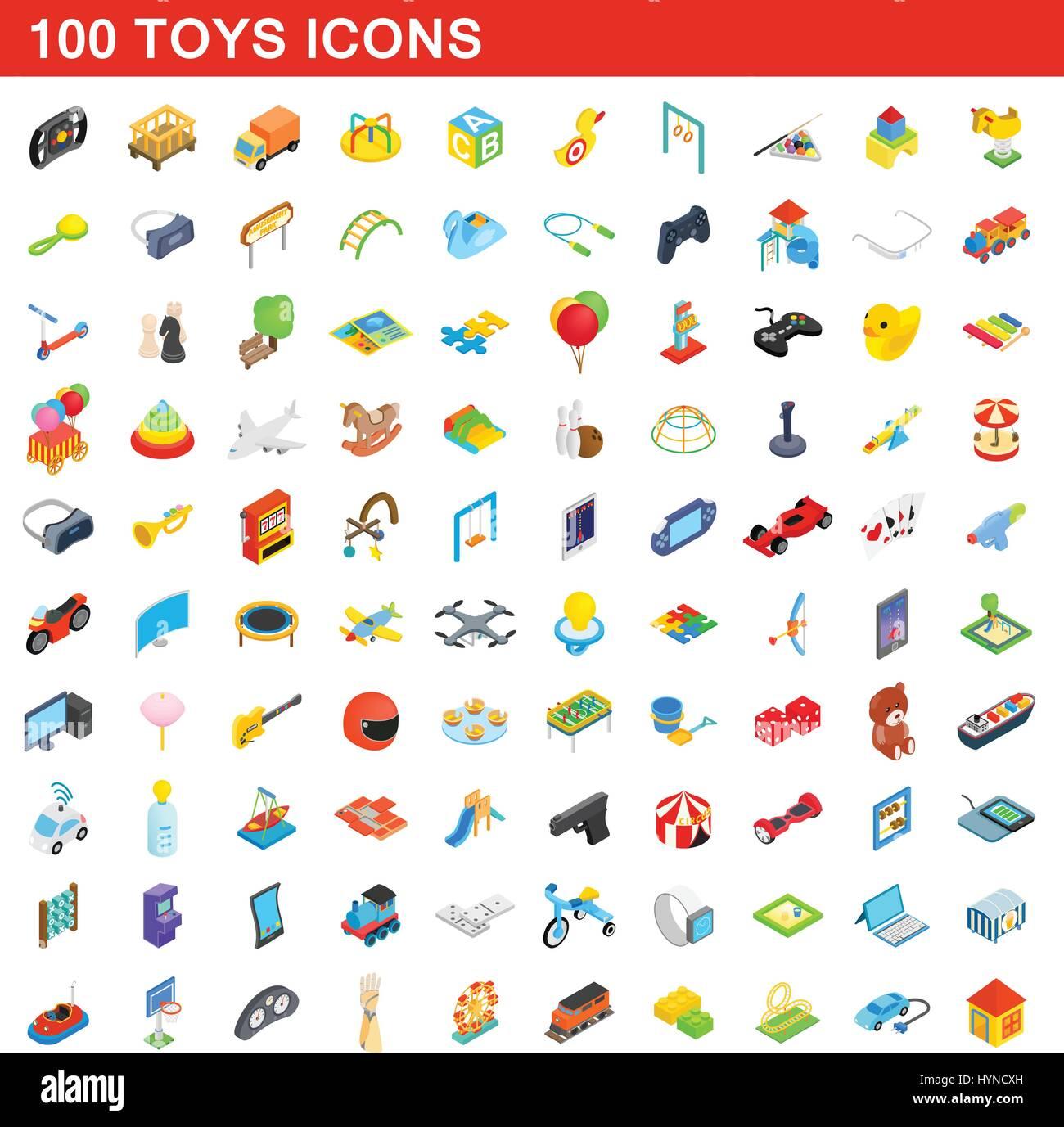 100 toys icons set, isometric 3d style - Stock Image
