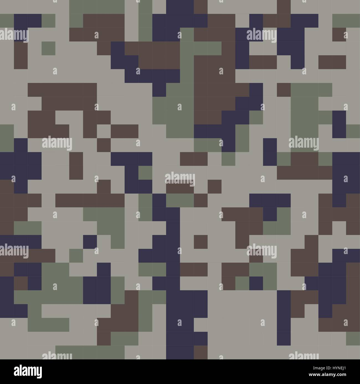 Pixel camo seamless pattern. Blue camouflage - Stock Image