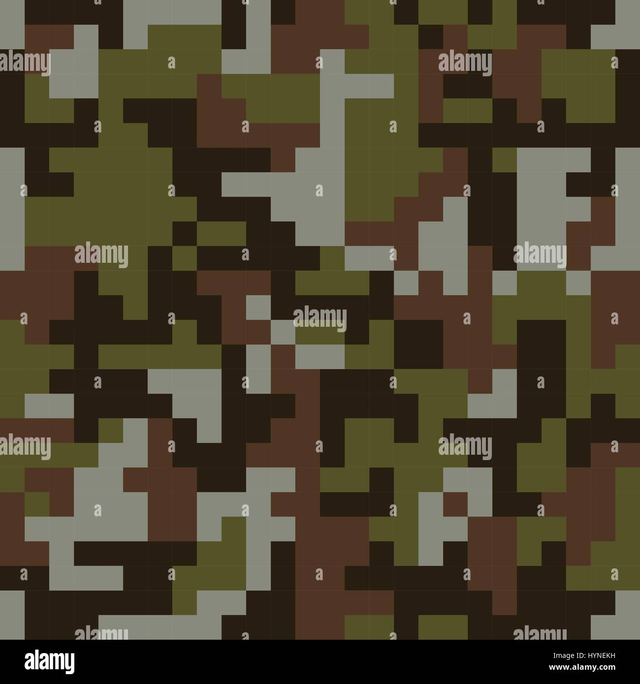 Pixel camo seamless pattern. Brown forest camouflage. - Stock Image