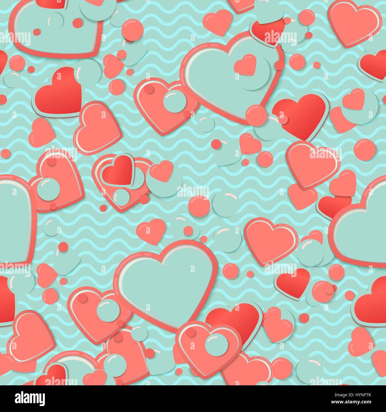 Blue Scrapbook paper, hearts with circles and waves. Valentines Day Greeting Card or postcard, scrap background. - Stock Vector