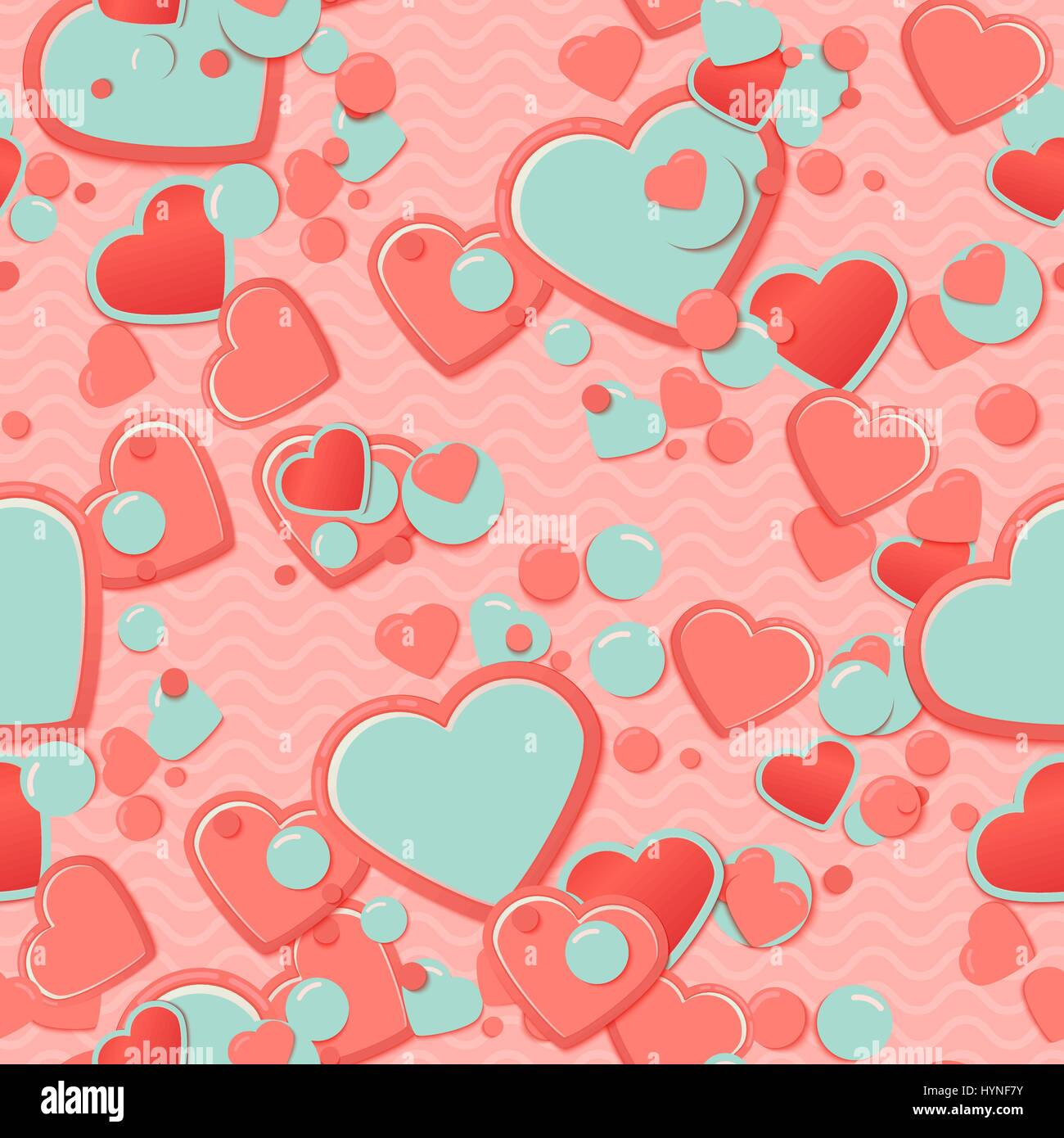 Pink Scrapbook paper, hearts with circles and waves. Valentines Day Greeting Card or postcard, scrap background. - Stock Vector