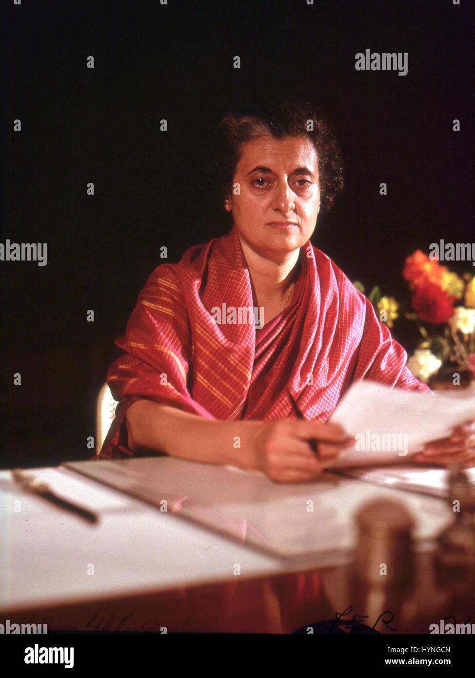 Mrs. Indira Ghandi (1917-1984), Prime Minister of India. Circa 1970. - Stock Image
