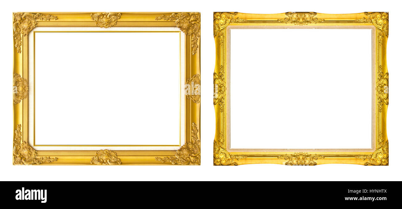 a817506f7d43 antique golden frame isolated on black background Gold photo frame with  corner line floral for picture