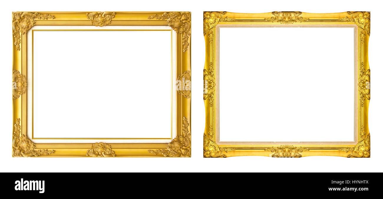 antique golden frame isolated on black background/Gold photo frame ...