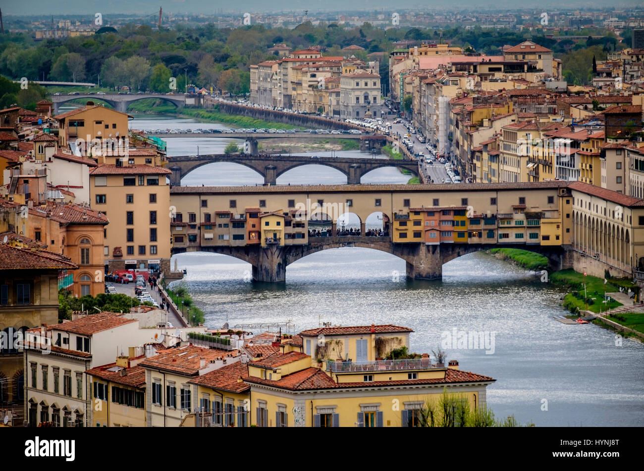 FLORENCE, ITALY - CIRCA MAY 2015:  Ponte Vecchio and Arno river in Florence, Italy. - Stock Image
