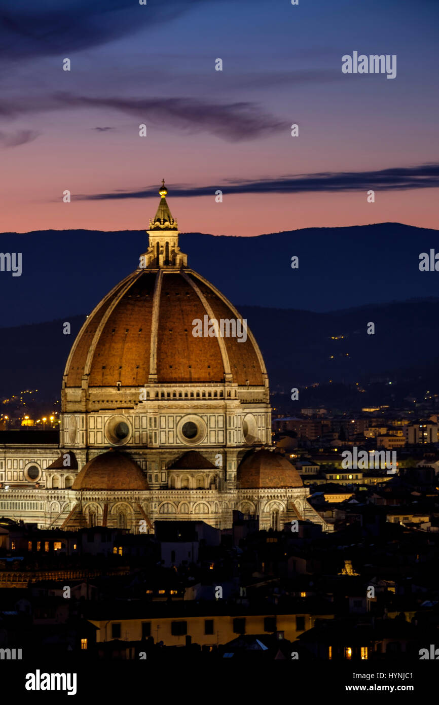 FLORENCE, ITALY - CIRCA MAY 2015:  Florence Cathedral,  Santa Maria del Fiore, known as The Duomo, at dusk as seen - Stock Image