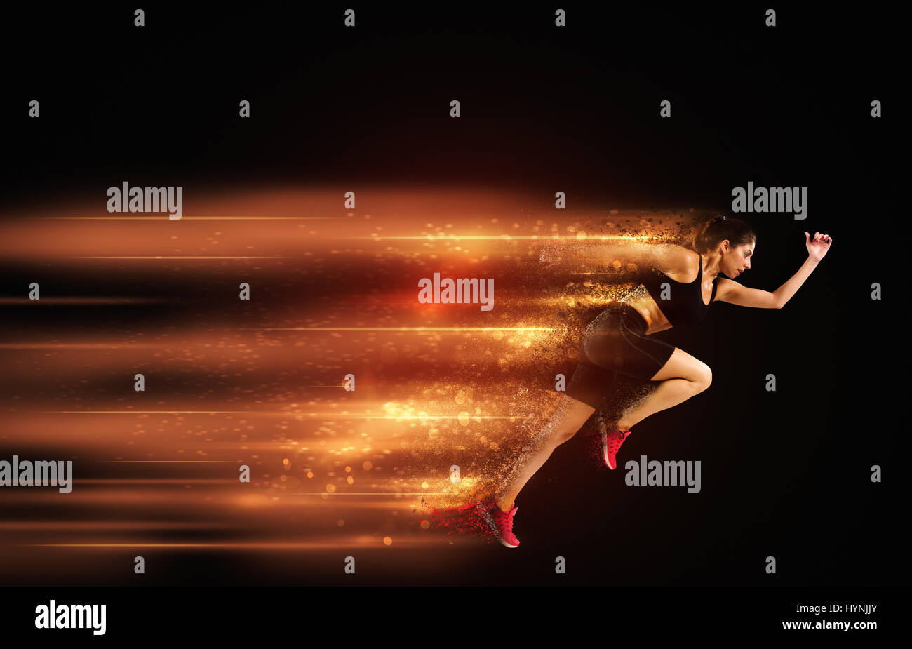 Athletic woman fast runner - Stock Image