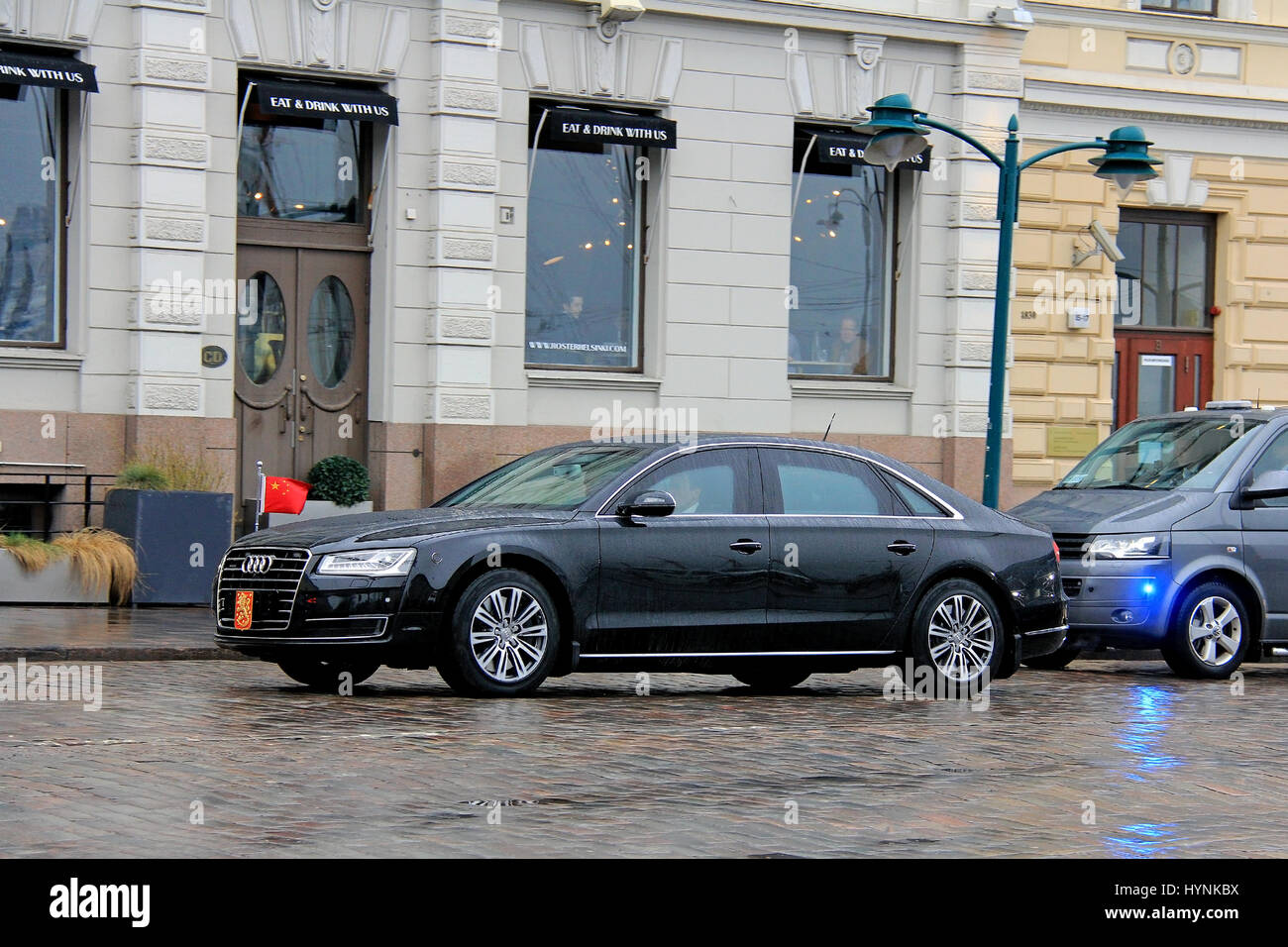 HELSINKI, FINLAND - APRIL 5, 2017: The President of China Xi Jinping and his delegation on the move with Audi A8 - Stock Image