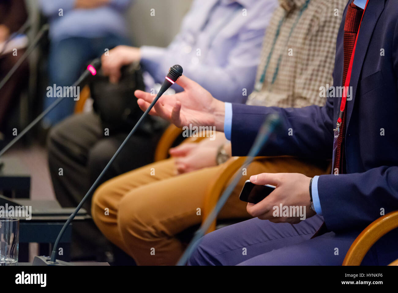Speaker at a business conference - Stock Image