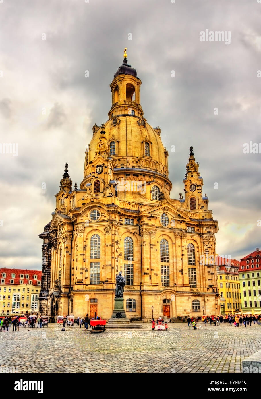 Martin Luther Monument and Frauenkirche in Dresden, Germany Stock Photo