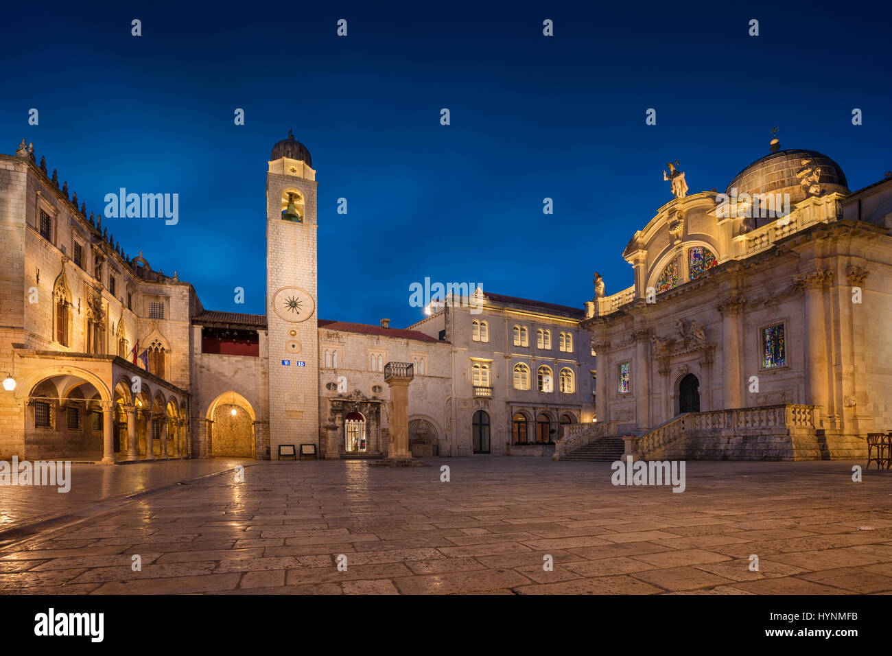 Dubrovnik. Beautiful romantic streets of old town Dubrovnik during twilight blue hour. - Stock Image