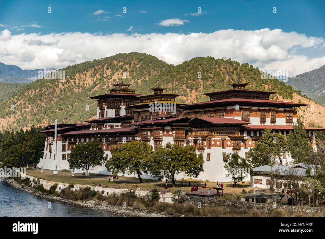 Punakha Dzong, a huge fortress monastery and administrative building in Bhutan - Stock Image