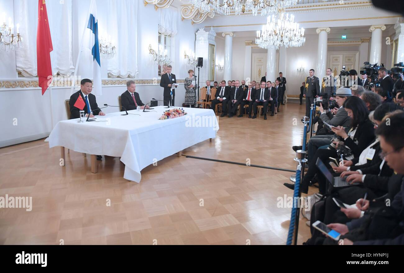 Helsinki, Finland. 5th Apr, 2017. Chinese President Xi Jinping and his Finnish counterpart Sauli Niinisto jointly Stock Photo