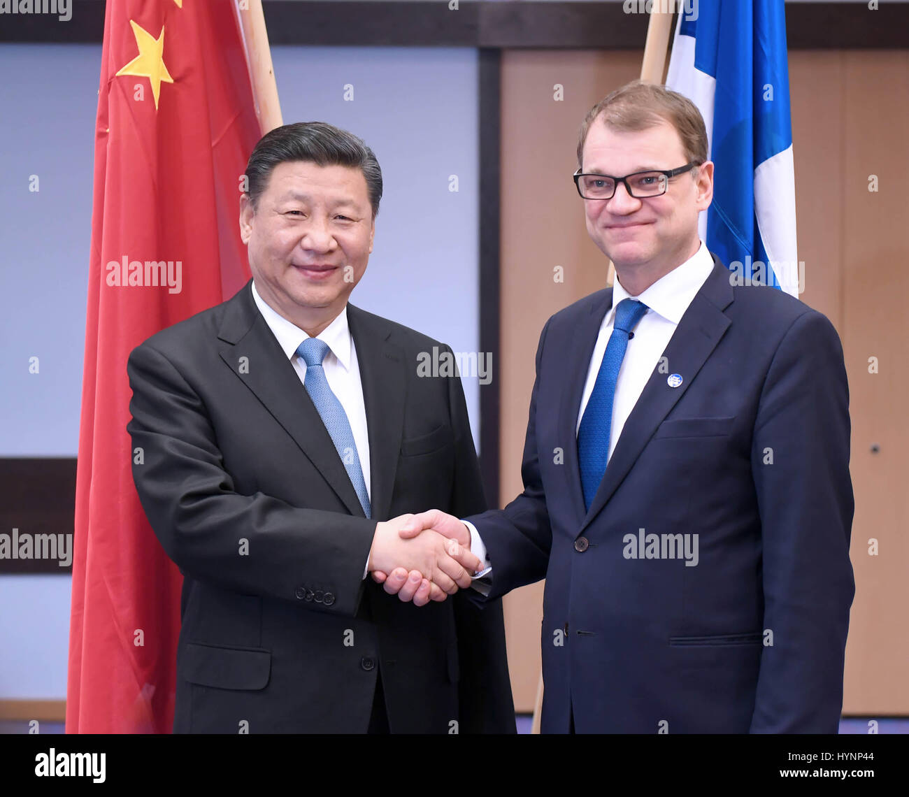 Helsinki, Finland. 5th Apr, 2017. Chinese President Xi Jinping (L) meets with Finnish Prime Minister Juha Sipila Stock Photo