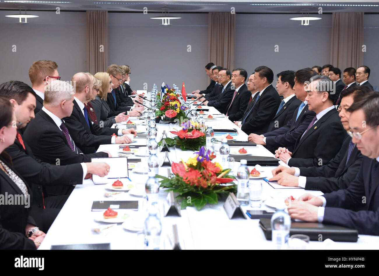 Helsinki, Finland. 5th Apr, 2017. Chinese President Xi Jinping meets with Speaker of the Finnish Parliament Maria Stock Photo