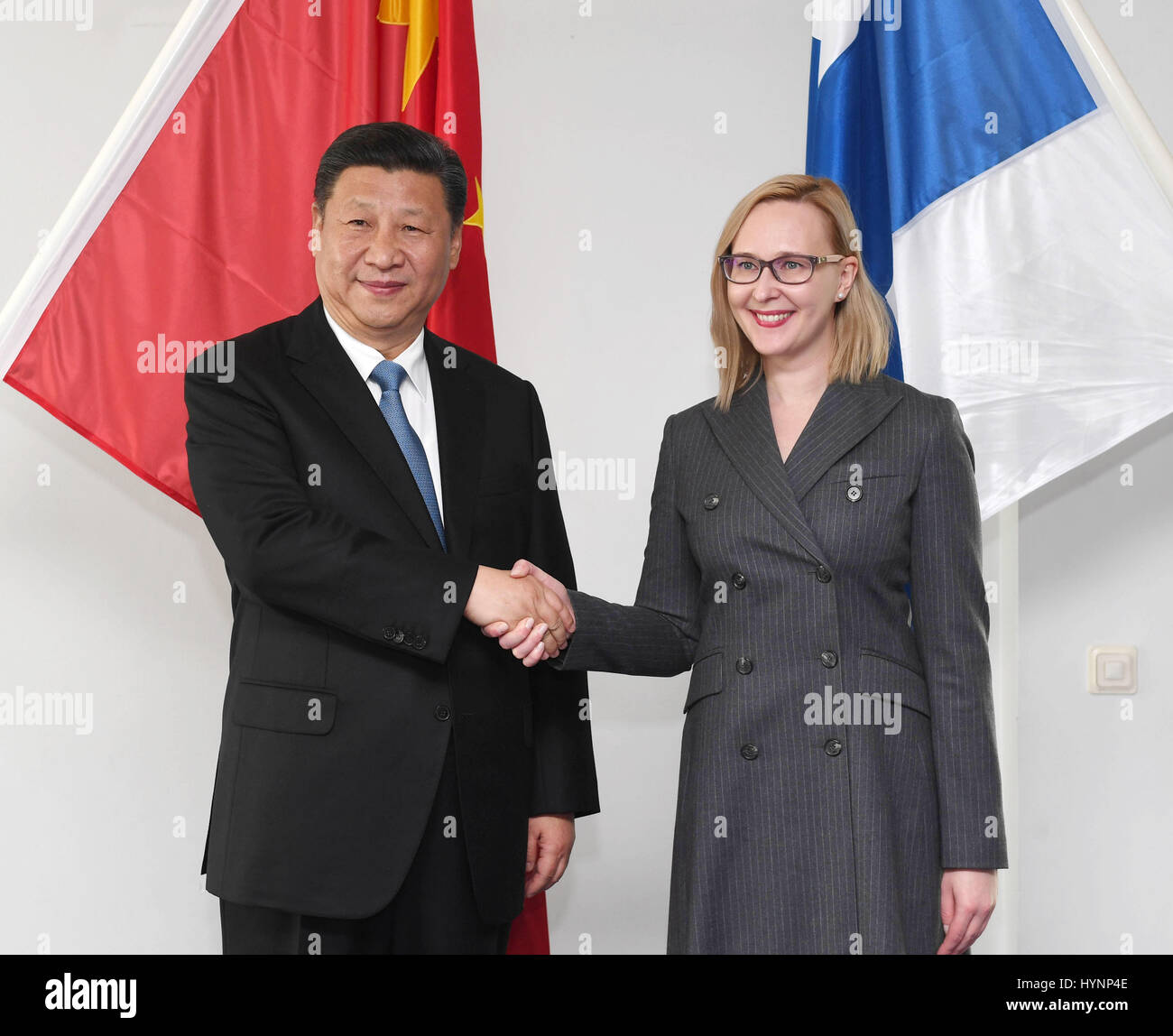 Helsinki, Finland. 5th Apr, 2017. Chinese President Xi Jinping (L) meets with Speaker of the Finnish Parliament Stock Photo