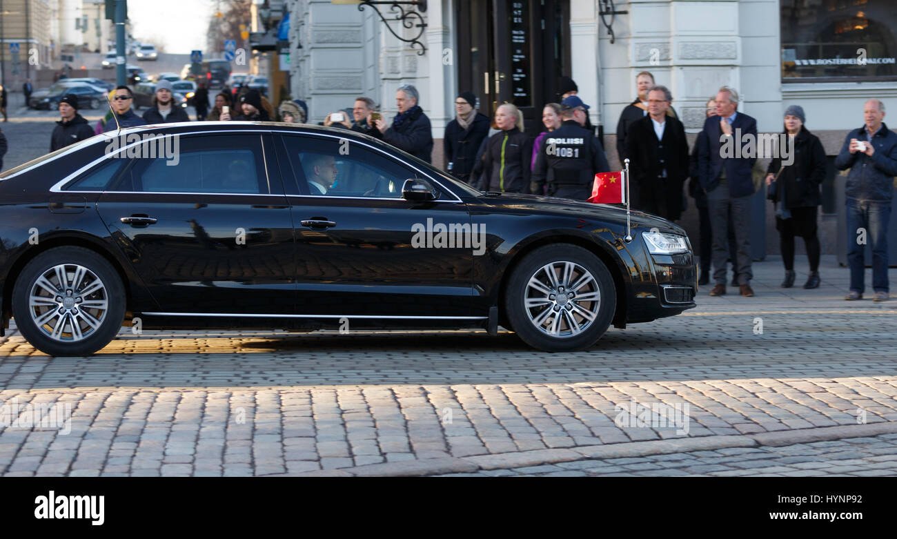 Helsinki, Finland. 5th April, 2017. President Xi Jinping of People's Republic of China travels in Helsinki using - Stock Image