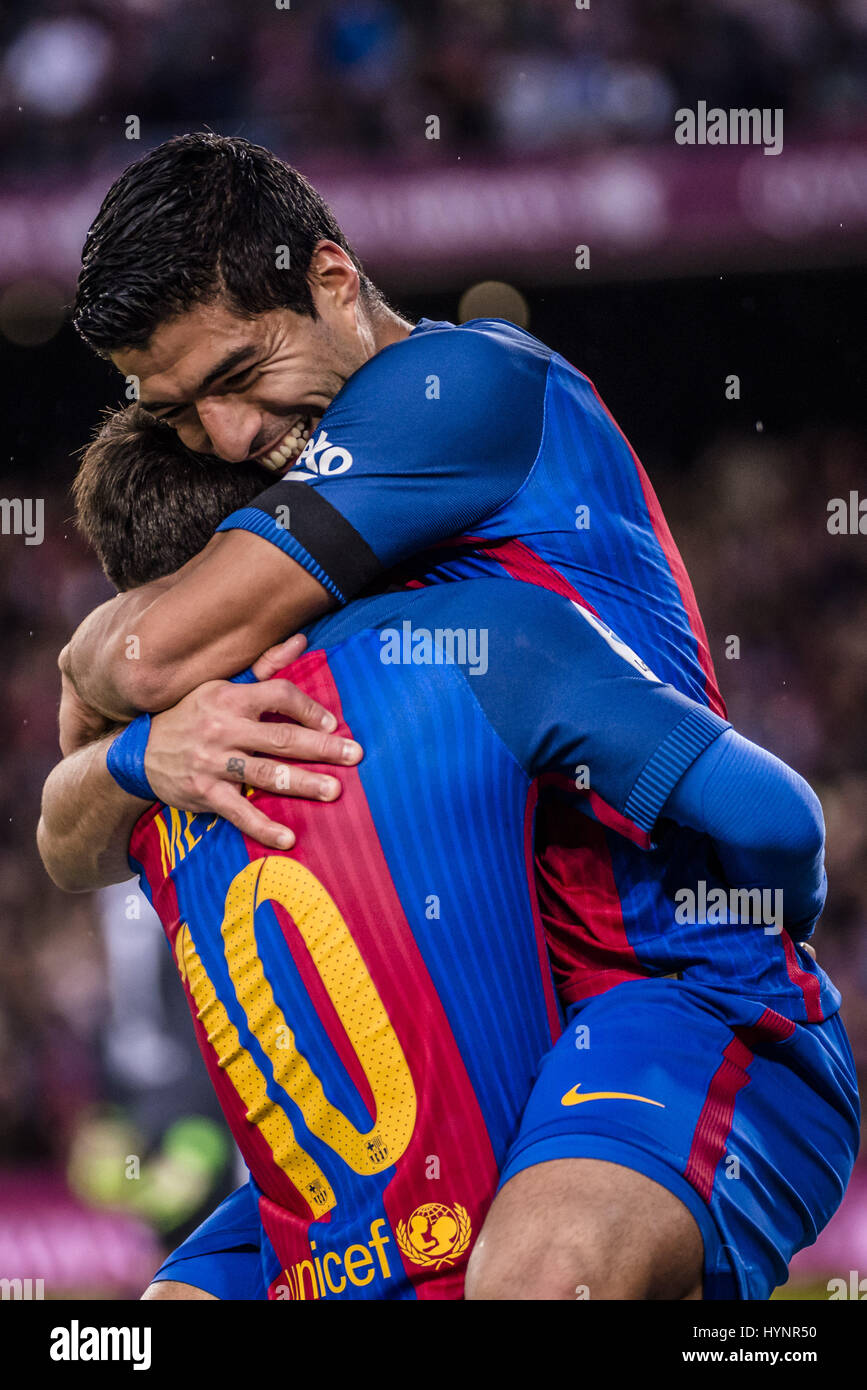 Barcelona, Catalonia, Spain. 5th Apr, 2017.  LaLiga match between FC Barcelona and Sevilla FC at the Camp Nou stadium - Stock Image