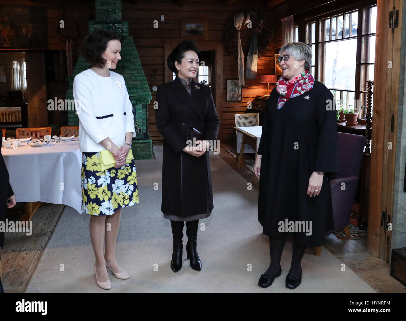 Helsinki, Finland. 5th Apr, 2017. Peng Liyuan (C), wife of Chinese President Xi Jinping, visits Ainola, the former Stock Photo