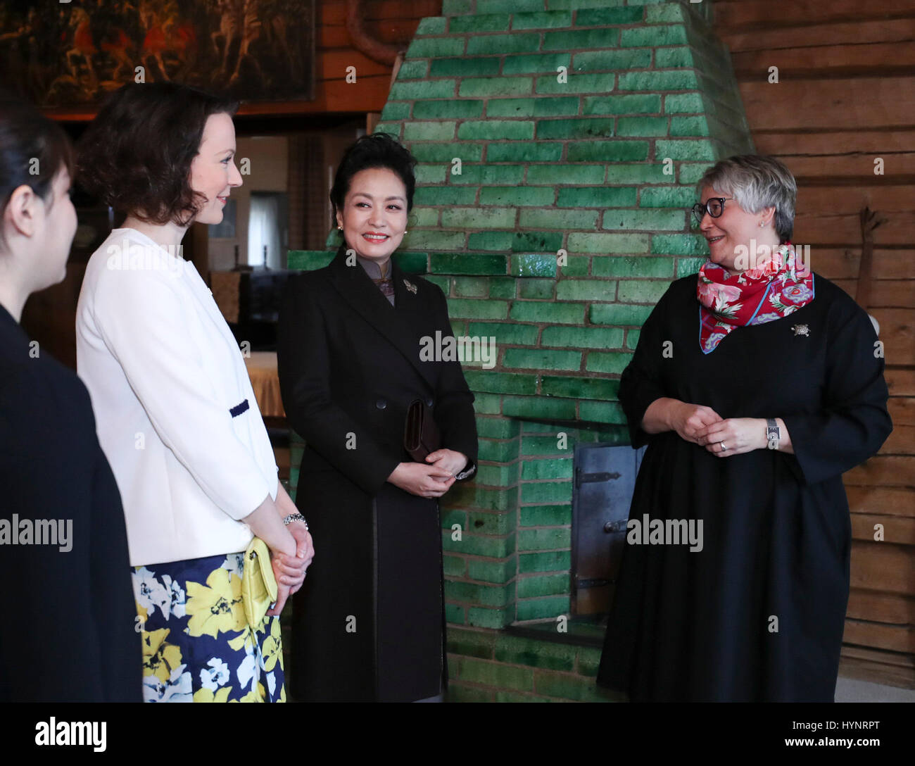 Helsinki, Finland. 5th Apr, 2017. Peng Liyuan (2nd R), wife of Chinese President Xi Jinping, visits Ainola, the Stock Photo