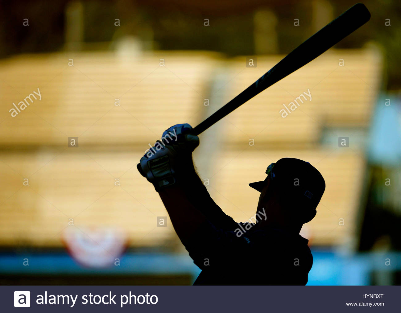 Los Angeles, California, USA. 5th Apr, 2017. Los Angeles Dodgers' Austin Barnes during batting practice prior - Stock Image
