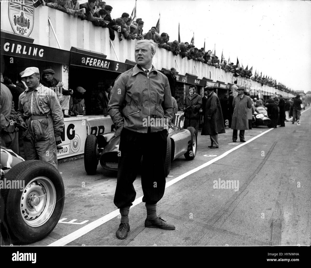 Jan. 01, 1959 - Mike Hawthorn killed when car hits tree flashback - Silverstone 1956: Mike Hawthorn, Britain US - Stock Image