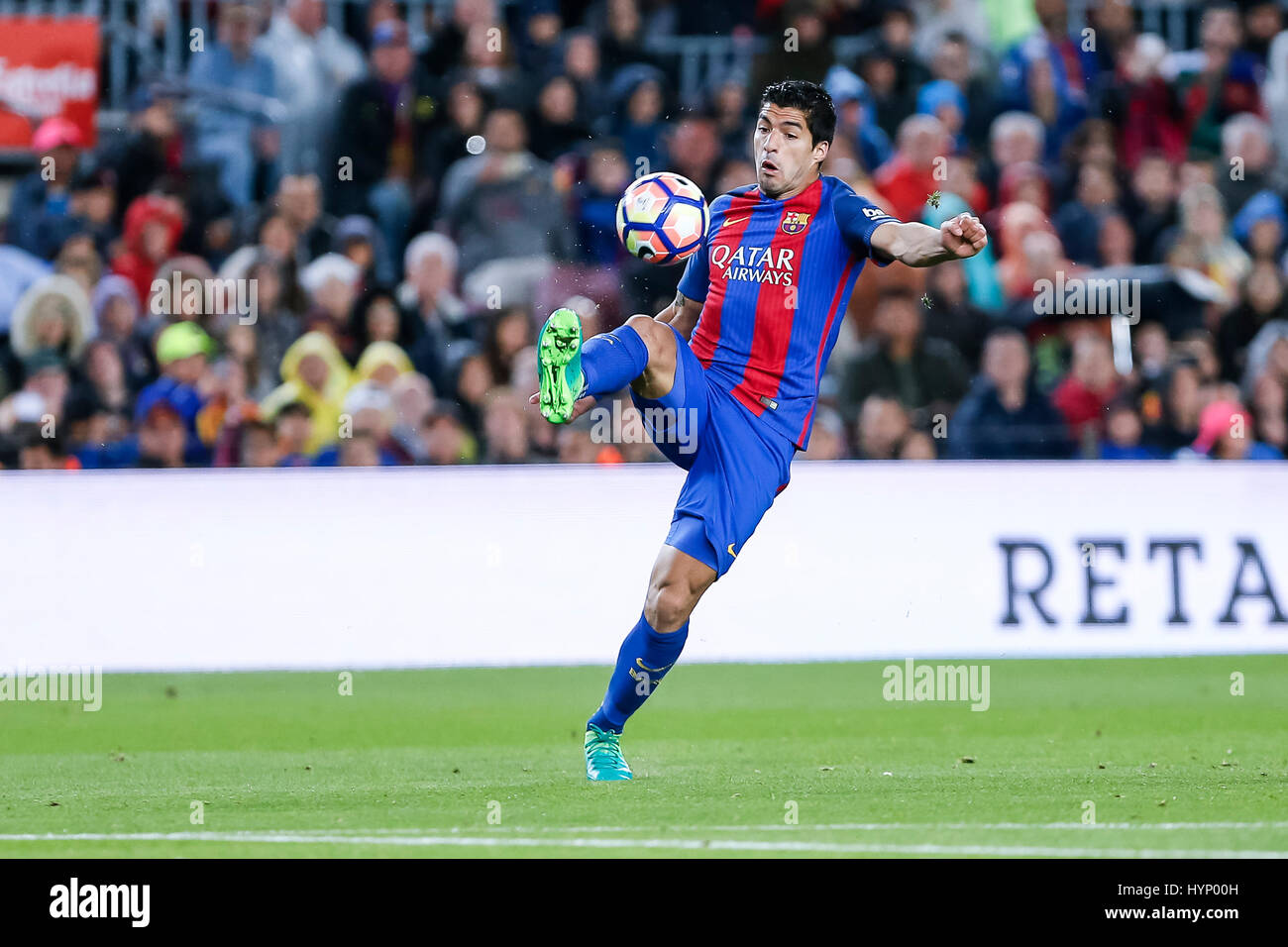 April 5, 2017: Luis Suarez during the match between FC Barcelona vs Sevilla, for the round 30 of the Liga Santander, - Stock Image